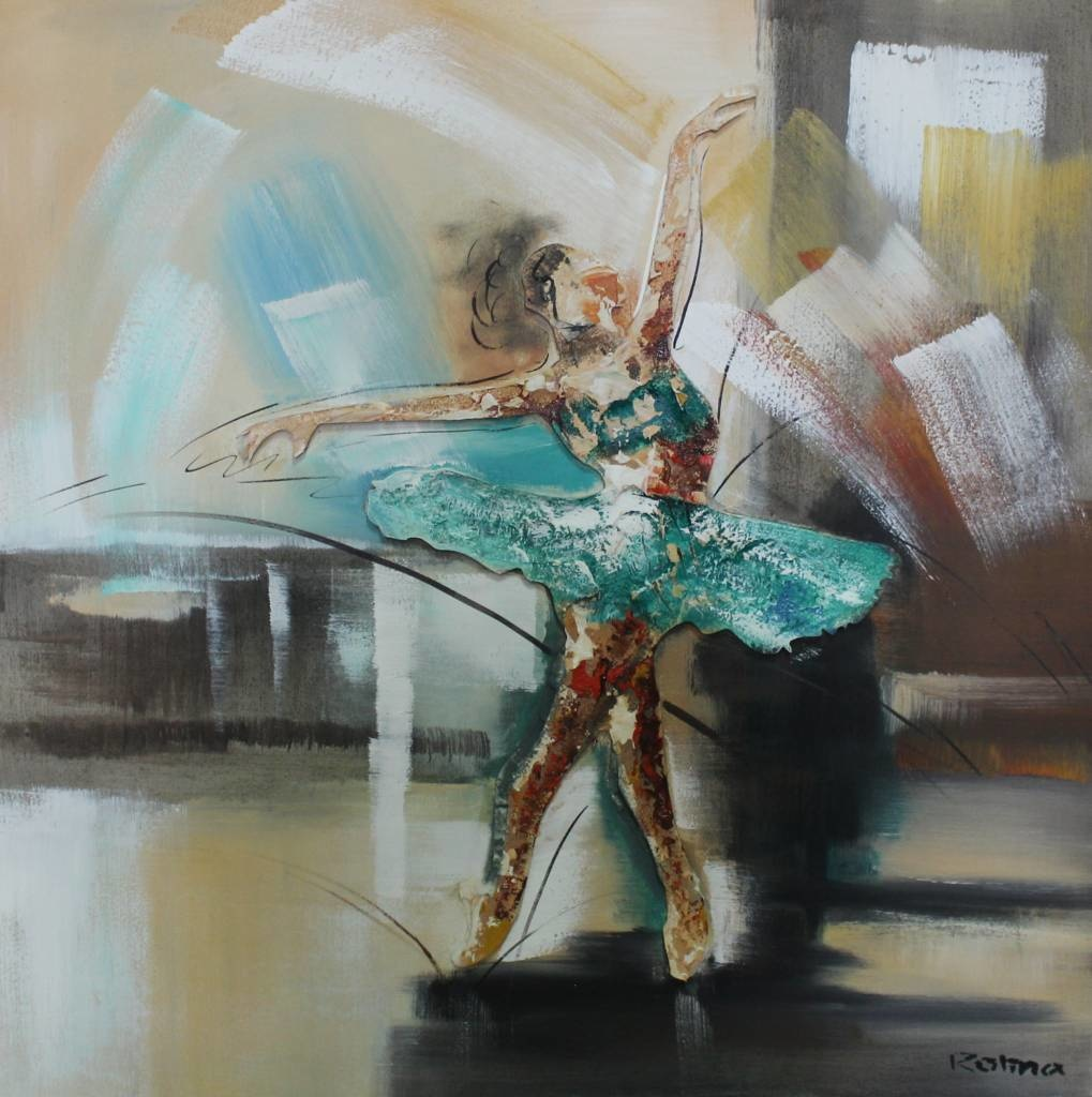 Handgeschilderd Schilderij - Ballerina in beweging - multikleur - 100x100cm Schilderij -Handgeschild