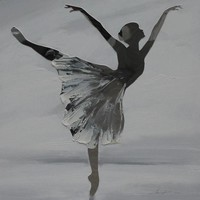Schilderij -Handgeschilderd- Ballerina - zwart wit -  100x100cm
