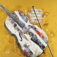 Schilderij -Handgeschilderd - Viool - geel multikleur - 100x100cm