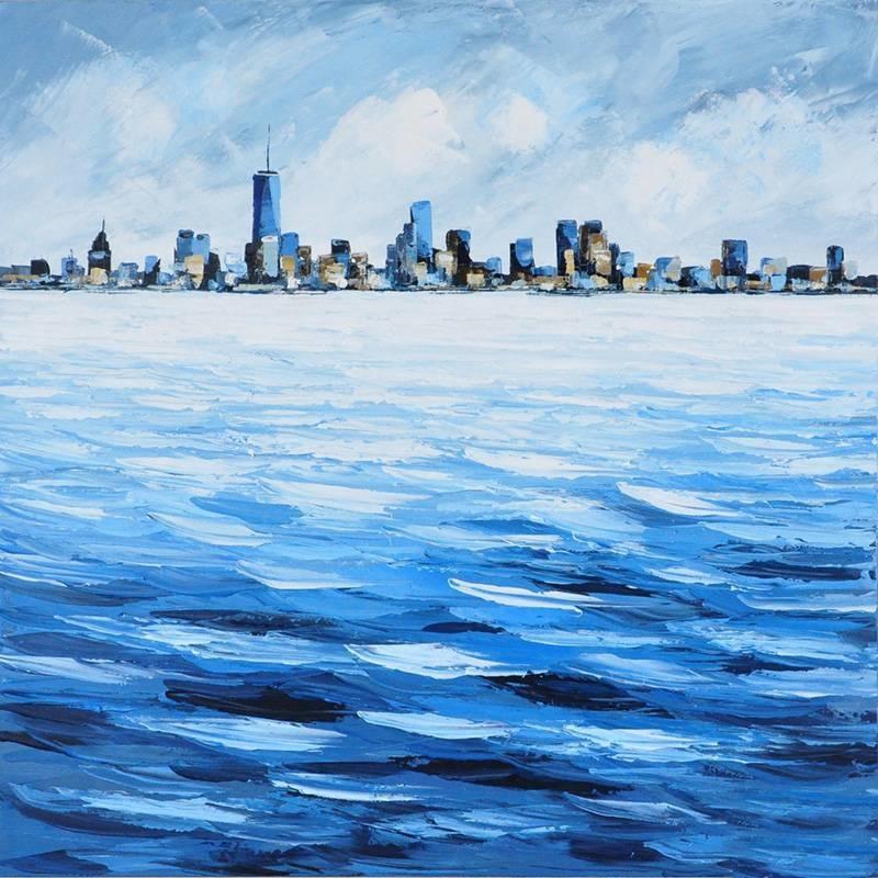 Schilderij -Handgeschilderd - Skyline - blauw wit - 100x100cm