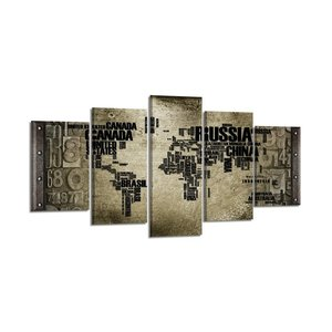 Schilderij - Wereldkaart Landnamen, Grijs, 200X100cm, 5luik