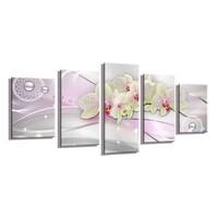 Schilderij - Orchidee Abstract, Roze, 200X100cm, 5luik