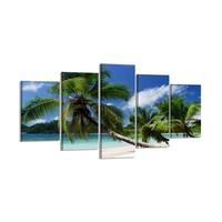 Schilderij - Palmboom, Groen/Blauw, 200X100cm, 5luik