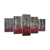 Schilderij - Berken, Rood, 200X100cm, 5luik