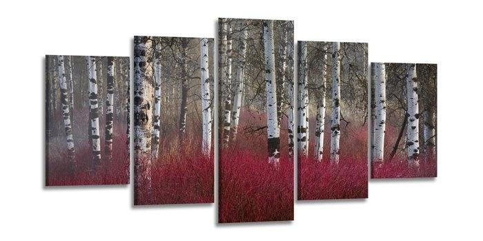 -37% SALE | Schilderij - Berken, Rood, 200X100cm, 5luik