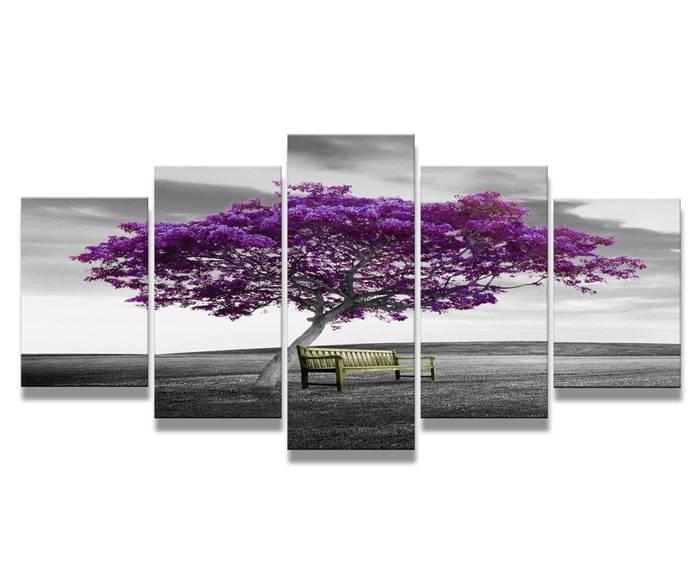 Schilderij - Paarse Boom Bankje, 200X100cm, 5luik