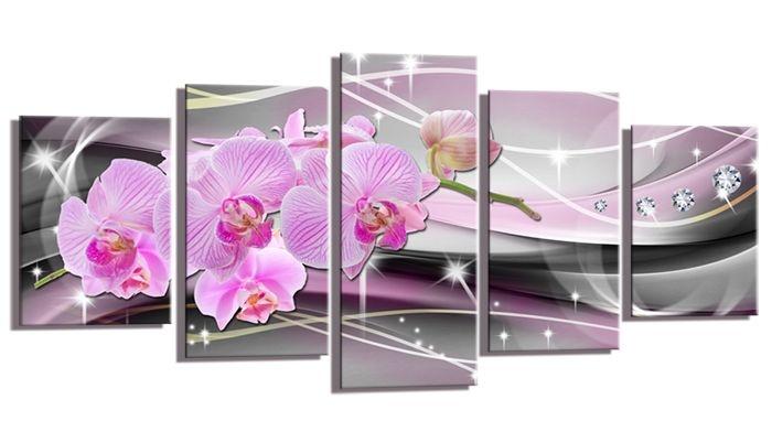 Schilderij - Abstracte Orchidee, Roze/Zilver, 200X100cm, 5luik