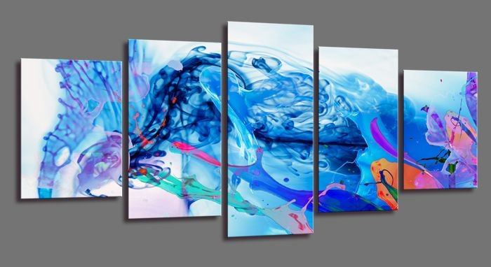 Schilderij - Abstracte Golf, Blauw, 200X100cm, 5luik