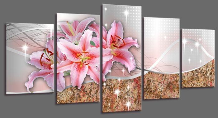 Schilderij - Roze Lelie, 200X100cm, 5luik