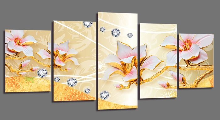 Schilderij - Abstracte Bloesem, Goud/Geel, 200X100cm, 5luik