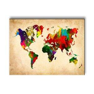 Schilderij - Wereldkaart in kleur, Multi-gekleurd, 40X30cm, 1luik