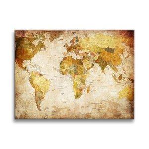 Schilderij - Oude Wereldkaart, Bruin, 40X30cm, 1luik