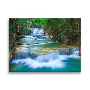 Schilderij - Waterval, Groen/Blauw, 40X30cm, 1luik