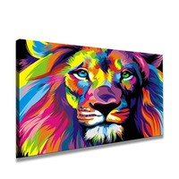 Schilderij - Leeuw, Multi-gekleurd, 80X60cm, 1luik