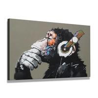 Schilderij - Aap met Koptelefoon, Zwart/Grijs, 80X60cm, 1luik