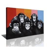 Schilderij - Apen, Multi-gekleurd, 80X60cm, 1luik