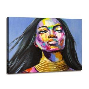 Schilderij - Vrouw Gezicht, Multi-gekleurd, 80X60cm, 1luik