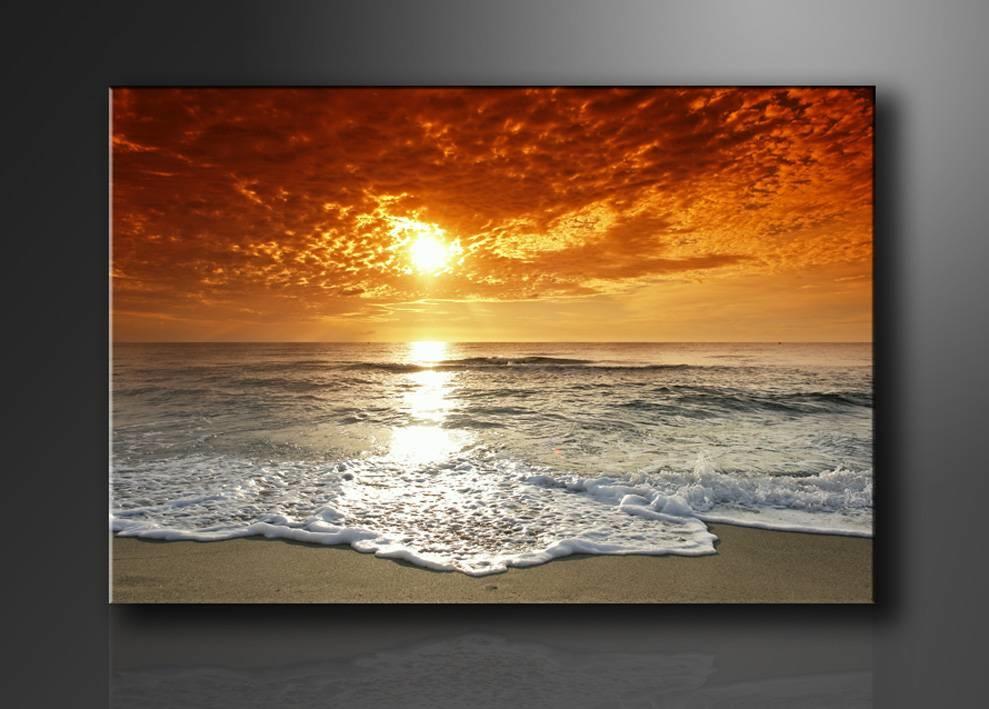 Schilderij - Strand Zee, Oranje, 80X60cm, 1luik