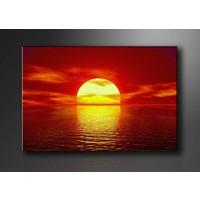 Schilderij - Zonsondergang, Rood/Geel, 80X60cm, 1luik