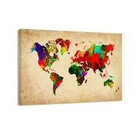 Schilderij - Wereldkaart Colors, Multi-gekleurd, 80X60cm, 1luik