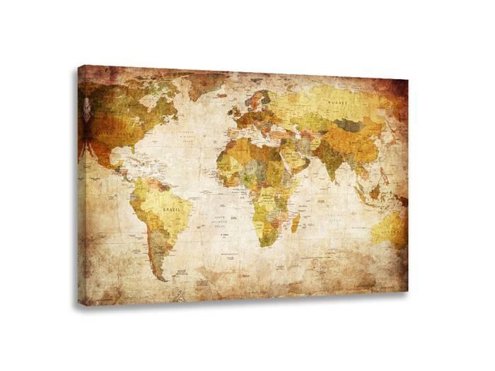Schilderij - Wereldkaart Landen, Bruin, 80X60cm, 1luik