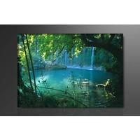 Schilderij - Waterval, Groen/Blauw, 80X60cm, 1luik