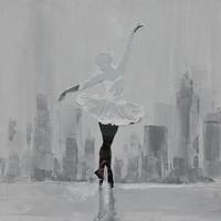 Schilderij -Handgeschilderd - Ballerina in zwart wit - 100x100cm
