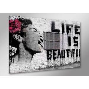 Schilderij - Banksy Life, Zwart-Wit/Roze, 80X60cm, 1luik