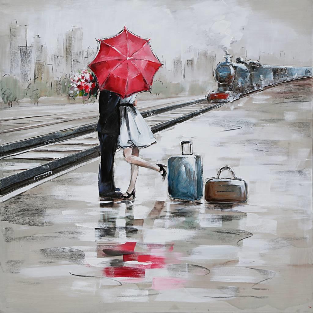 Schilderij -Handgeschilderd - Op het station - Multikleur - 100x100cm