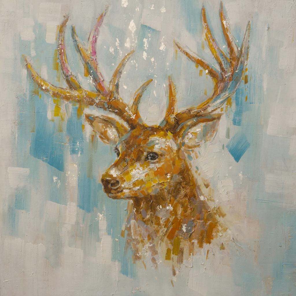 Schilderij -Handgeschilderd - Hert - Bruin Wit - 100x100cm