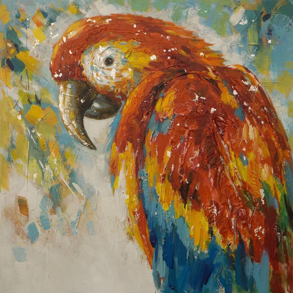 Schilderij -Handgeschilderd - Papegaai - multikleur - 100x100cm