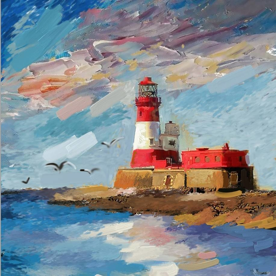 Schilderij -Handgeschilderd - Vuurtoren - multikleur - 100x100cm