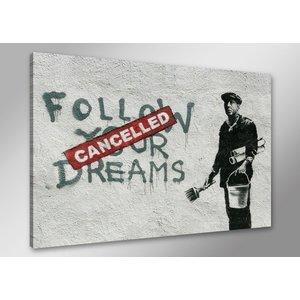 Schilderij - Banksy Dreams, Zwart-Wit/Rood, 80X60cm, 1luik