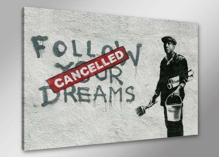Schilderij - Banksy Dreams, Volg je dromen, Zwart-Wit/Rood, 80X60cm, 1luik