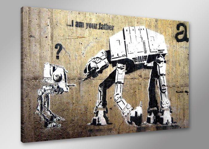 Schilderij - Banksy Father, Bruin/Wit, 80X60cm, 1luik