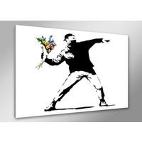 Schilderij - Banksy Boeket, Zwart-Wit, 80X60cm, 1luik