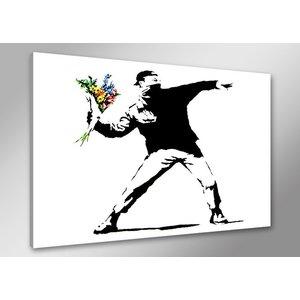 Schilderij - Banksy Boeket, Flower thrower, Zwart-Wit, 80X60cm, 1luik