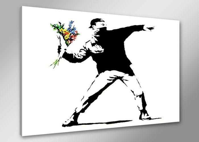 -33% SALE | Schilderij - Banksy Boeket, Flower thrower, Zwart-Wit, 80X60cm, 1luik