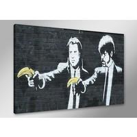 Schilderij - Banksy Pulp Fiction, Zwart/Geel, 80X60cm, 1luik
