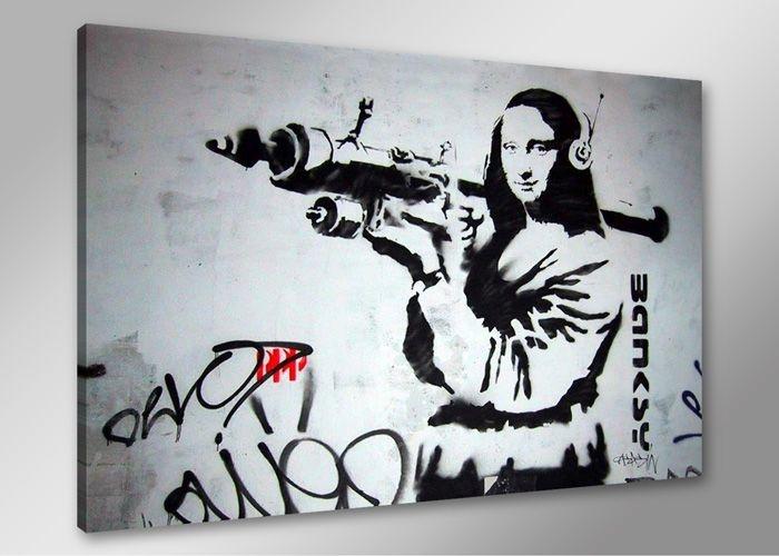 Schilderij - Banksy Mona Lisa, Zwart-Wit, 80X60cm, 1luik