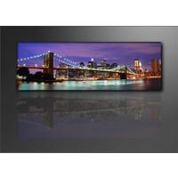 Schilderij - New York Brug, Paars/Blauw, 120X40cm, 1luik
