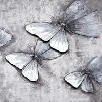 Handgeschilderd Schilderij - Vlinders - zwart wit - 100x100cm