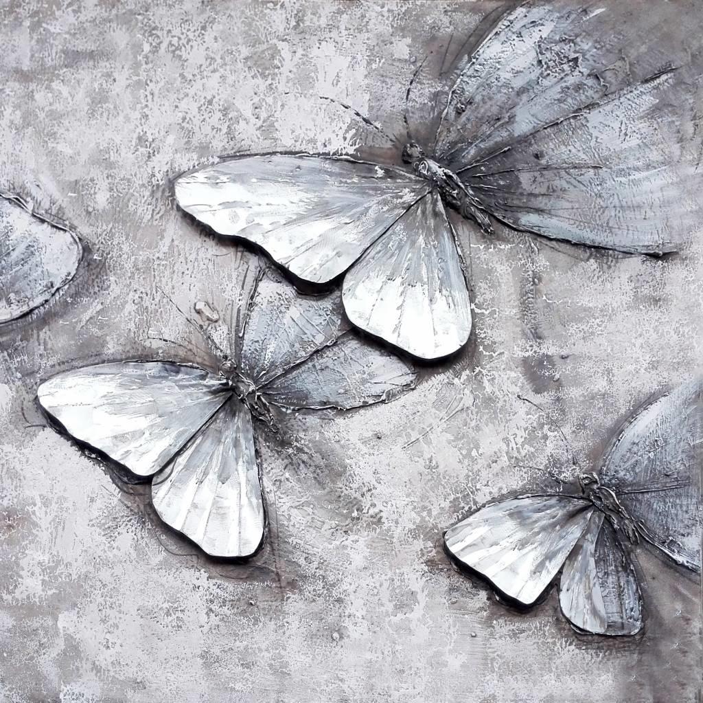 Schilderij -Handgeschilderd - Vlinders - zwart wit - 100x100cm