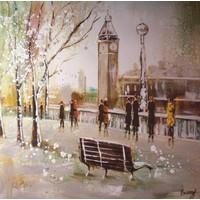 Schilderij -Handgeschilderd - Big Ben - beige bruin - 100x100cm