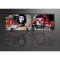 Schilderij - Che Guevara. Collage, 120X40cm, 1luik
