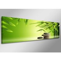 Schilderij - Bamboe en Stenen, Groen, 120X40cm, 1luik