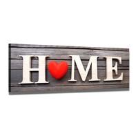 Schilderij - Home Hartje, Rood/Bruin, 120X40cm, 1luik