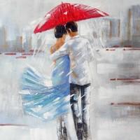 Schilderij -Handgeschilderd - Onder de paraplu - multikleur - 100x100cm
