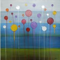 Schilderij -Handgeschilderd - Abstract bloemenveld - multikleur - 100x100cm