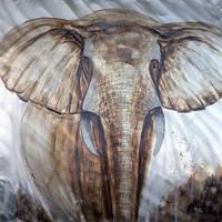 Schilderij -Handgeschilderd - Olifant - bruin wit - 100x100cm